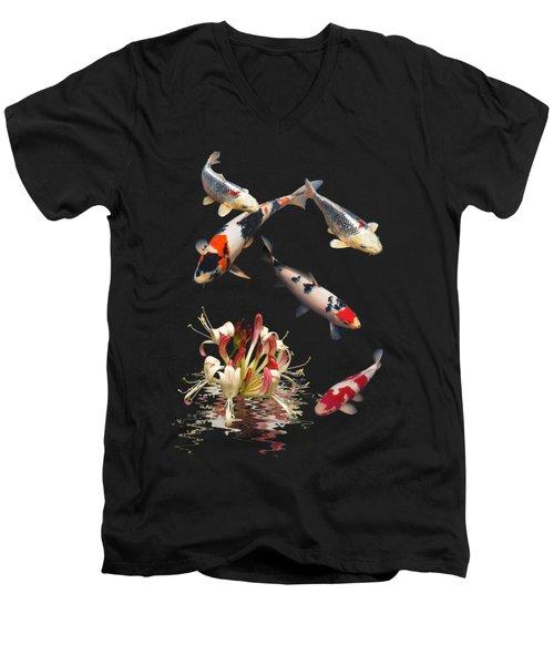 Koi With Honeysuckle Reflections Vertical Men's V-Neck T-Shirt