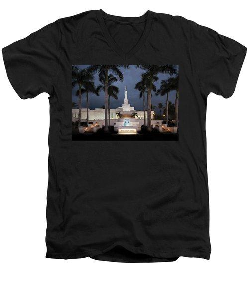 Kona Hawaii Temple-night Men's V-Neck T-Shirt