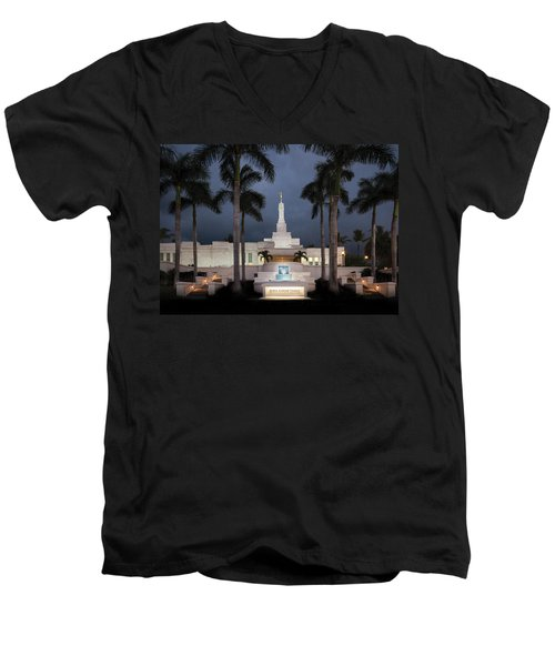 Kona Hawaii Temple-night Men's V-Neck T-Shirt