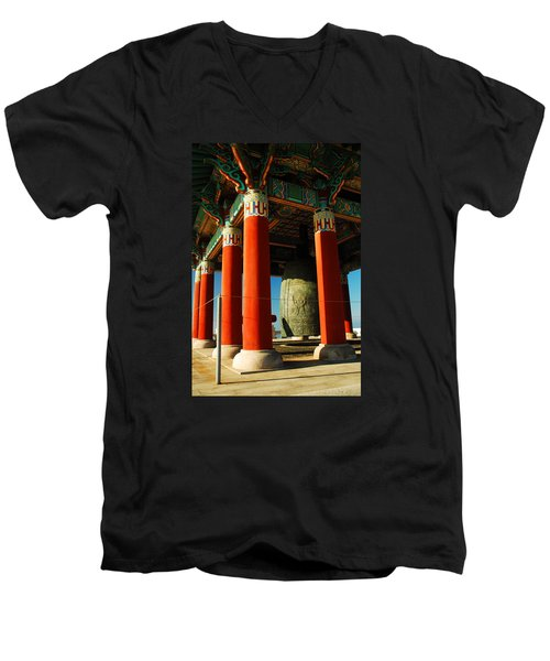 Korean Peace Bell San Pedro Men's V-Neck T-Shirt by James Kirkikis