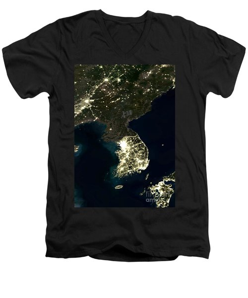 Korean Peninsula Men's V-Neck T-Shirt by Planet Observer and SPL and Photo Researchers