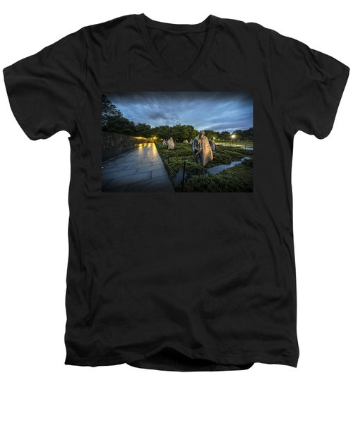 Men's V-Neck T-Shirt featuring the photograph Korean War Memorial by David Morefield