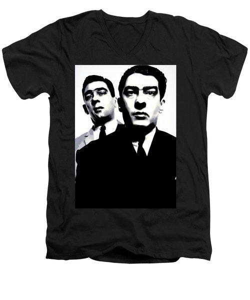 Kray Twins Men's V-Neck T-Shirt by Luis Ludzska