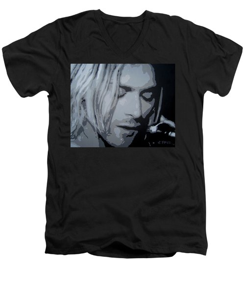 Men's V-Neck T-Shirt featuring the painting Kurt Cobain by Ashley Price