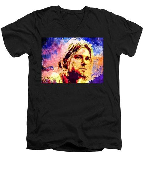 Kurt Cobain Men's V-Neck T-Shirt by Svelby Art