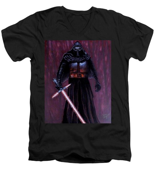 Men's V-Neck T-Shirt featuring the painting Kylo In Red by Dan Wagner