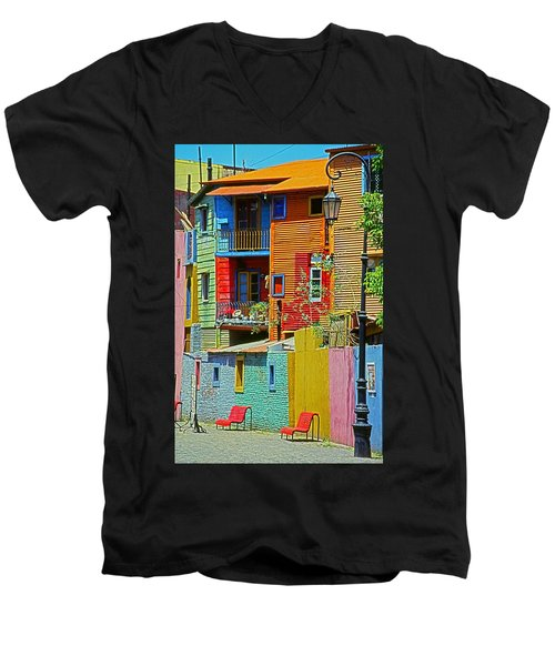 La Boca - Buenos Aires Men's V-Neck T-Shirt by Juergen Weiss