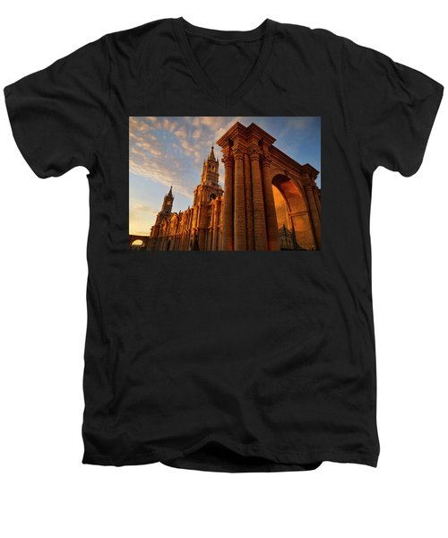 Men's V-Neck T-Shirt featuring the photograph La Hora Magia by Skip Hunt