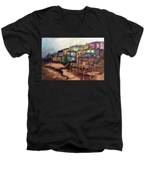 La Perla De Puerto Rico Men's V-Neck T-Shirt by Janet Garcia