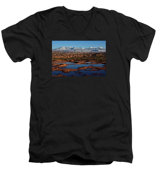 La Sal Mountains And Ephemeral Pools Men's V-Neck T-Shirt