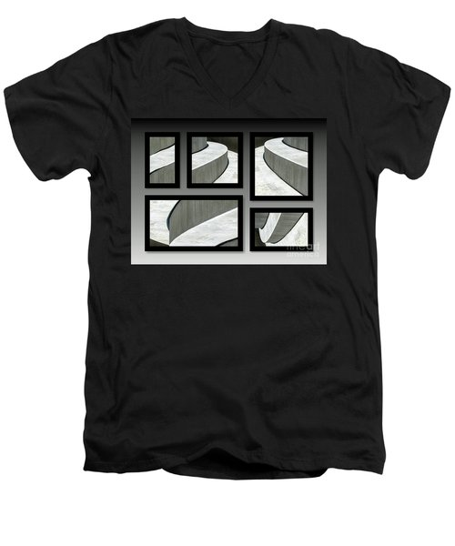 Men's V-Neck T-Shirt featuring the photograph La Stairs Collage 01a by Ausra Huntington nee Paulauskaite