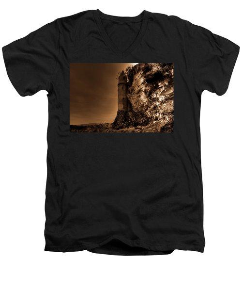 La Tour In Sepia Men's V-Neck T-Shirt