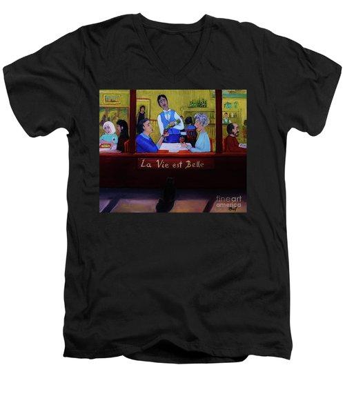 La Vie Est Belle Men's V-Neck T-Shirt by Reb Frost