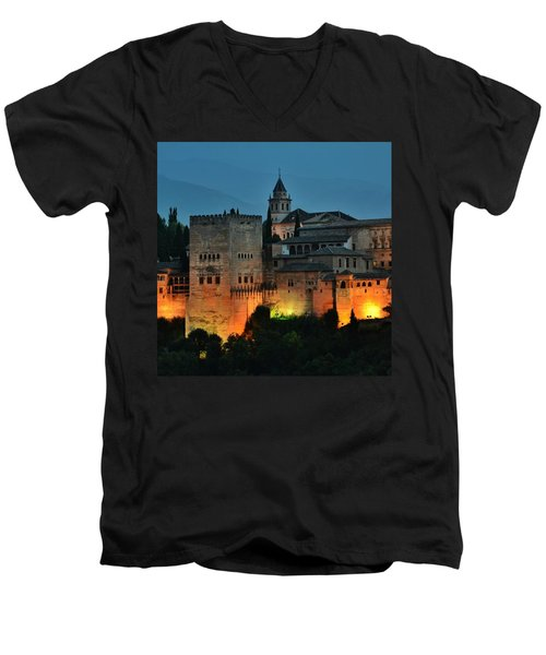 #laalhambra At Dusk - #ig_andalucia Men's V-Neck T-Shirt