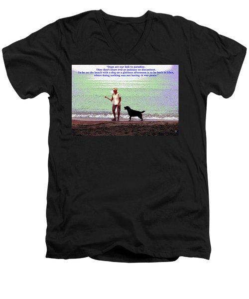 Men's V-Neck T-Shirt featuring the mixed media Labrador Retriever by Charles Shoup