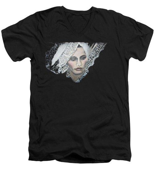 Lace Transparent Men's V-Neck T-Shirt by Vesna Martinjak