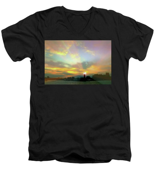 Men's V-Neck T-Shirt featuring the photograph Lackawanna Transit Sunset by Diana Angstadt