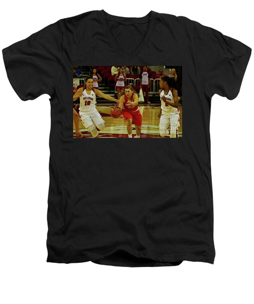 Men's V-Neck T-Shirt featuring the photograph Ladies Basketball by Debby Pueschel