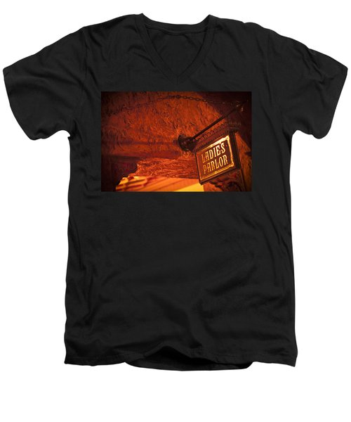Men's V-Neck T-Shirt featuring the photograph Ladies Parlor Sign by Carolyn Marshall