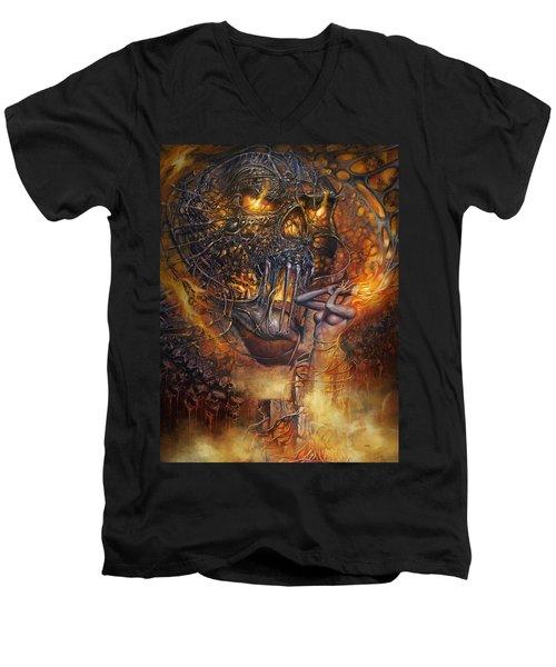 Lady And Skull Men's V-Neck T-Shirt