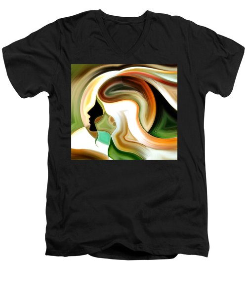 Men's V-Neck T-Shirt featuring the painting Lady Of Color by Karen Showell