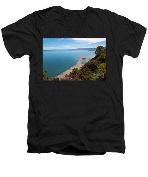 Lagoon Of Tindari On The Isle Of Sicily  Men's V-Neck T-Shirt