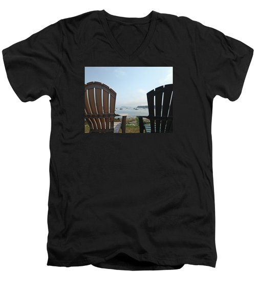 Men's V-Neck T-Shirt featuring the digital art Laid Back by Olivier Calas