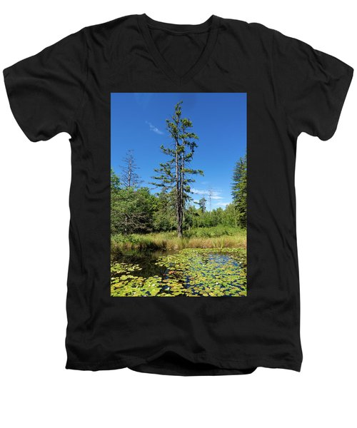 Men's V-Neck T-Shirt featuring the photograph Lake Birkensee Nature Park Schoenbuch Germany by Matthias Hauser
