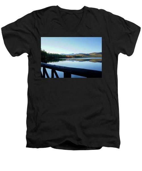 Lake Chocorua Autumn Men's V-Neck T-Shirt by Nancy De Flon