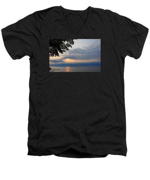 Men's V-Neck T-Shirt featuring the photograph Lake Erie Sunset by Lena Wilhite