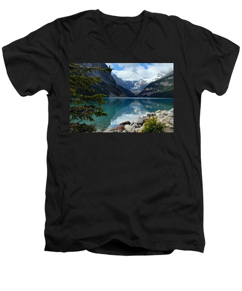 Lake Louise 2 Men's V-Neck T-Shirt by Larry Ricker