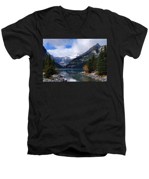 Lake Louise Men's V-Neck T-Shirt by Larry Ricker