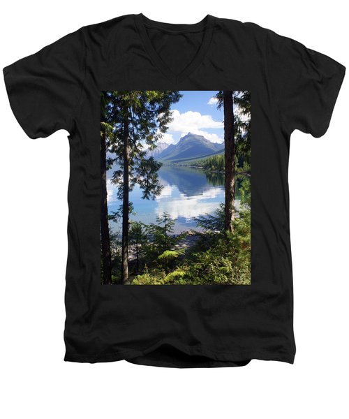 Lake Mcdlonald Through The Trees Glacier National Park Men's V-Neck T-Shirt