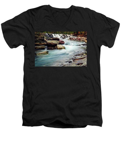 Lake Mcdonald Falls, Glacier National Park, Montana Men's V-Neck T-Shirt