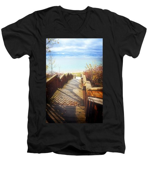 Men's V-Neck T-Shirt featuring the photograph Lake Michigan In The North by Michelle Calkins