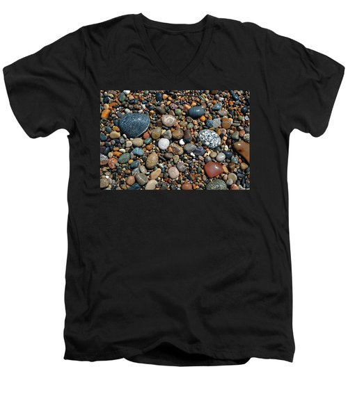 Men's V-Neck T-Shirt featuring the photograph Lake Michigan Stone Collection by Michelle Calkins