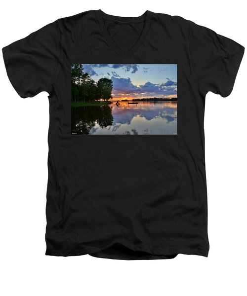 Lake Murray Sc Reflections Men's V-Neck T-Shirt