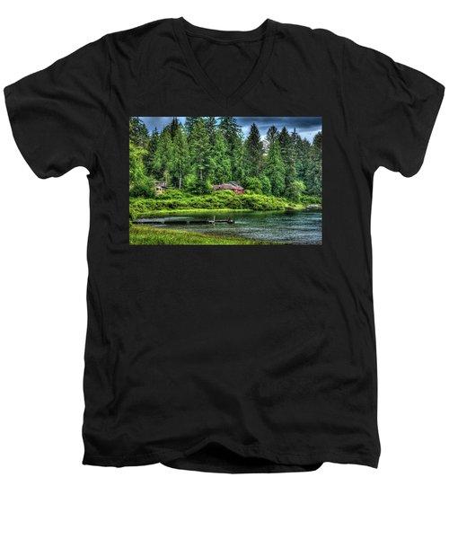 Lake Quinault 3 Men's V-Neck T-Shirt by Richard J Cassato