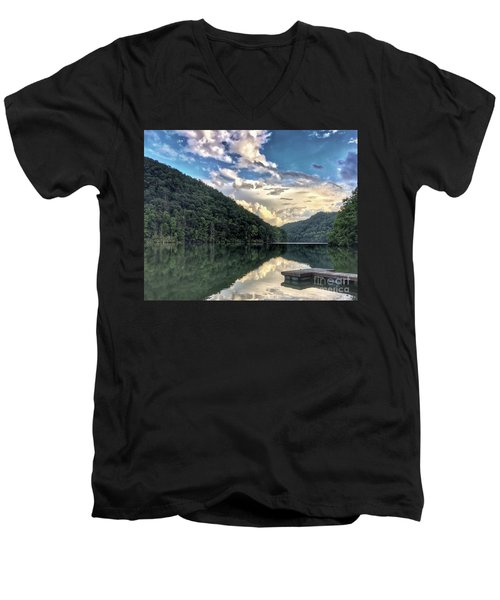 Men's V-Neck T-Shirt featuring the photograph Lake Reflections by Kerri Farley