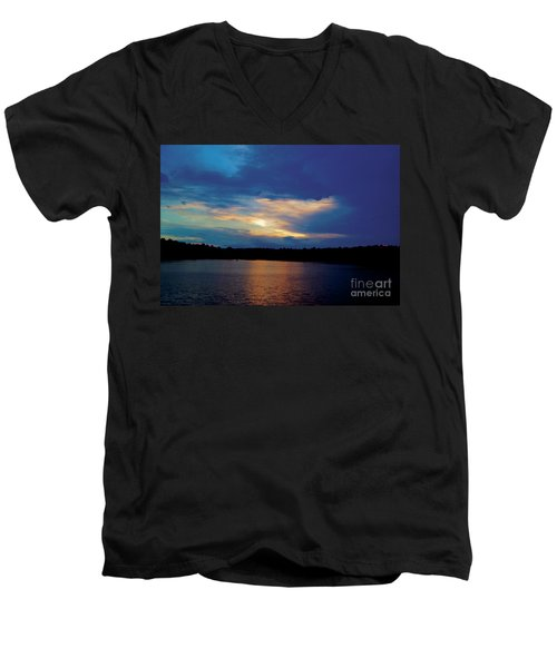 Men's V-Neck T-Shirt featuring the painting Lake Sunset by Debra Crank