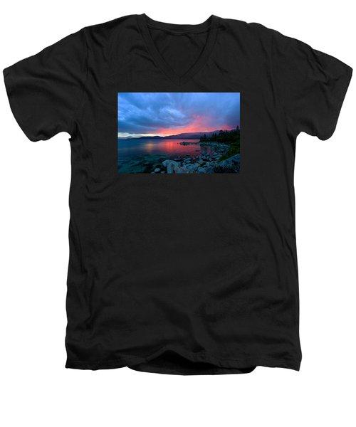 Lake Tahoe Sunset Men's V-Neck T-Shirt by Sean Sarsfield