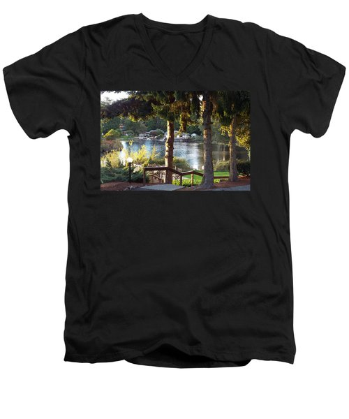 Men's V-Neck T-Shirt featuring the photograph  Beverly Lake View In Fall by Judyann Matthews