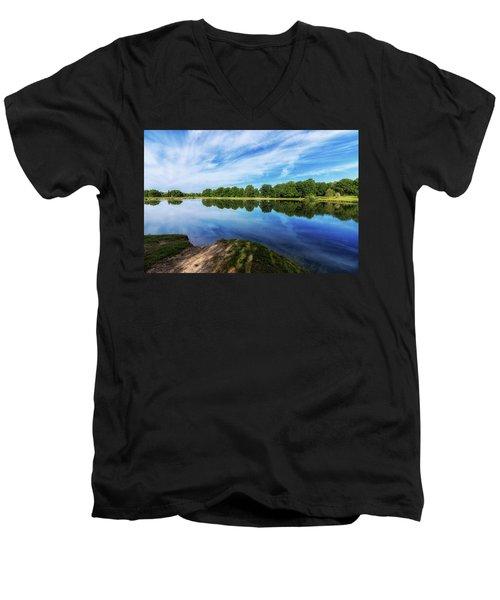 Men's V-Neck T-Shirt featuring the photograph Lake View by Tom Mc Nemar