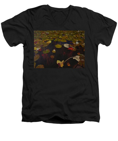Men's V-Neck T-Shirt featuring the painting Lake Washington Lilypad 7 by Thu Nguyen