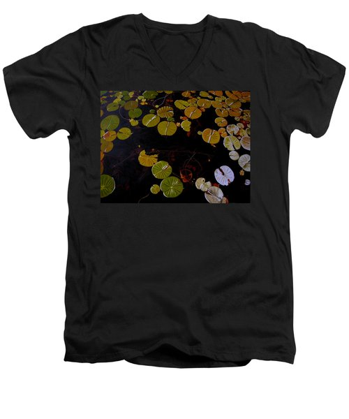 Men's V-Neck T-Shirt featuring the painting Lake Washington Lilypad 8 by Thu Nguyen