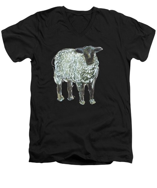 Lamb Art An032 Men's V-Neck T-Shirt