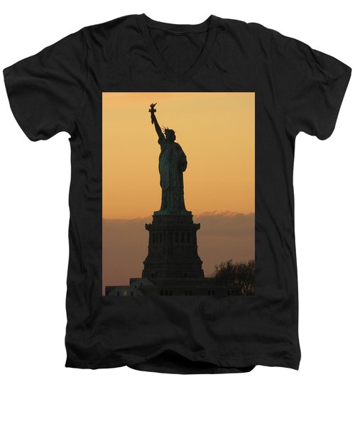 Land Of The Free And The Brave Men's V-Neck T-Shirt by Emmy Marie Vickers