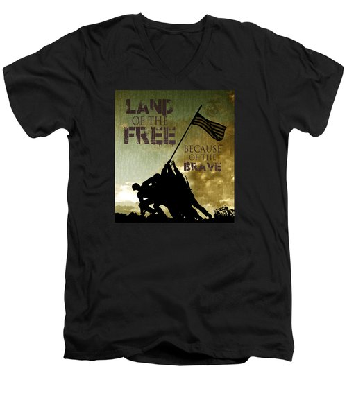 Men's V-Neck T-Shirt featuring the digital art Land Of The Free by Dawn Romine