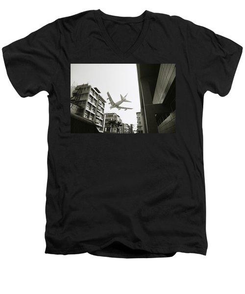 Landing In Hong Kong Men's V-Neck T-Shirt by Shaun Higson