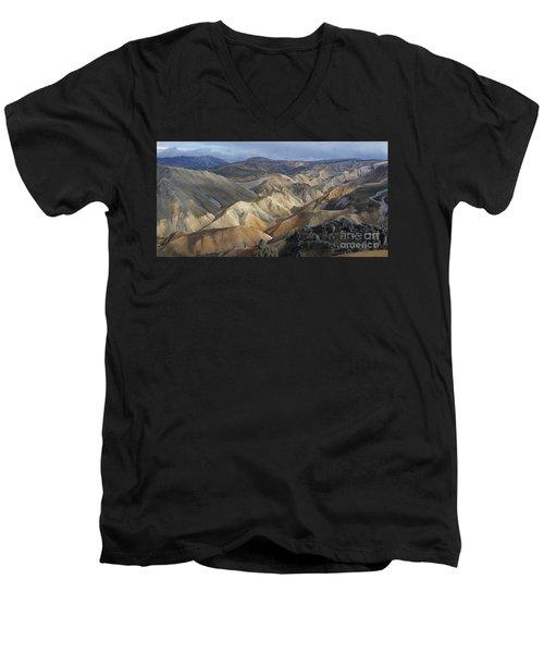 Men's V-Neck T-Shirt featuring the photograph Landmannalaugar Rhyolite Mountains Iceland by Rudi Prott